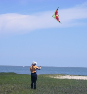 Emilie Flying a Kite on Mockhorn Island