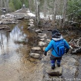 Isaac crossing the beaver pond