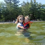 Emilie and Isaac swimming