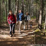 Leah, Benoît, Tyson, and Isaac hiking the railroad grade portion of Carrigain Notch Trail.