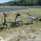 Final assembled folding bike, folding trailer, and constructed seat.